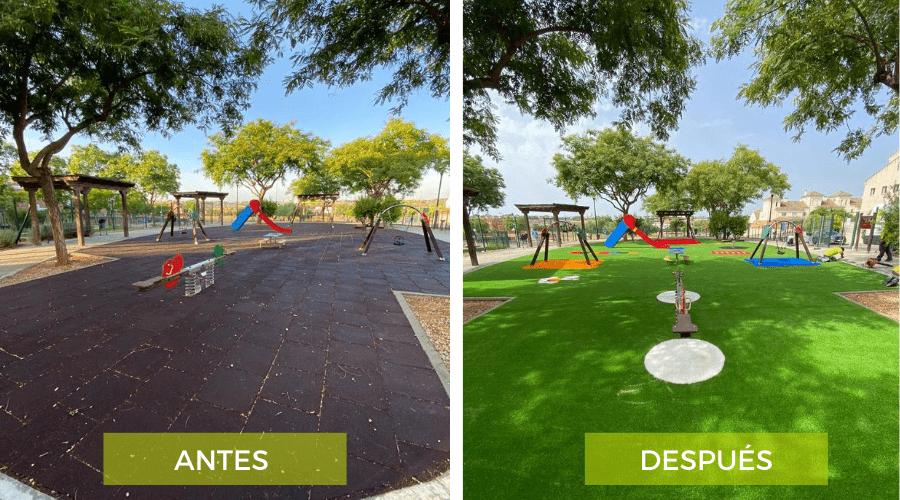 trabajo de Verdegreen, césped artificial antes y después