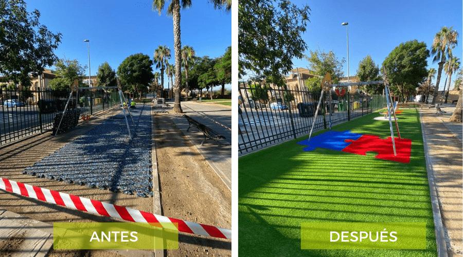 parque de La Rinconada con césped artificial