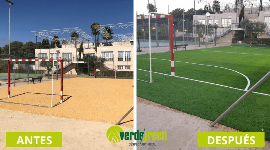 el antes y el después de una instalación de césped artificial en campo de fútbol